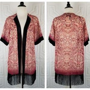 Petticoat Alley Red and Black Fringe Velvet Kimono